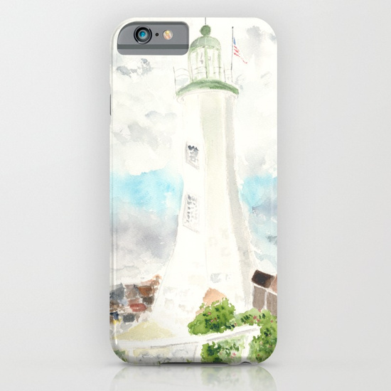 iPhone cover of Scituate Lighthouse by Finding Silver Pennies, available in Society6
