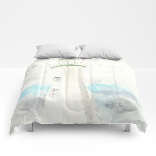 Scituate Lighthouse Comforter by Finding Silver Pennies