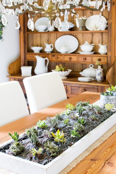 Farmhouse Succulent Centerpiece - can be hung on the wall too