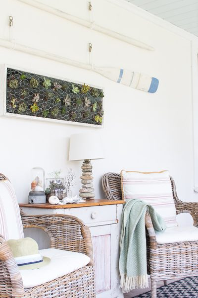 Seaside living - decor inspired by nature - succulent wall hanging, rock lamp, shells