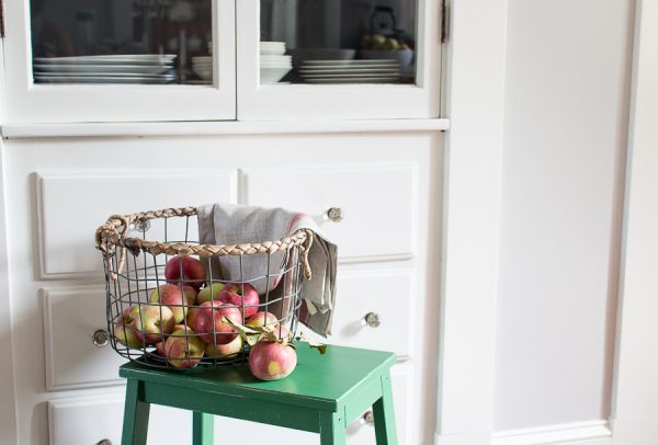 Fall Kitchen with a Basket of Fresh Picked Apples