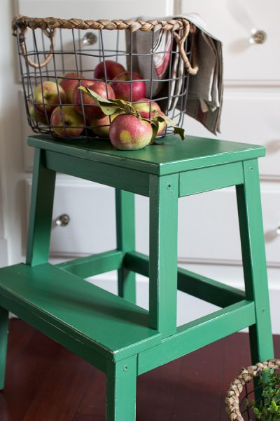 Pretty Painted Stool in Fusion Mineral Paint's Park Bench Green