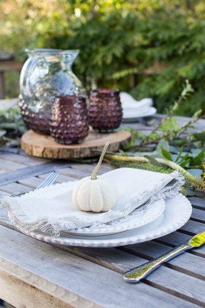 White pumpkins are adorable for place settings
