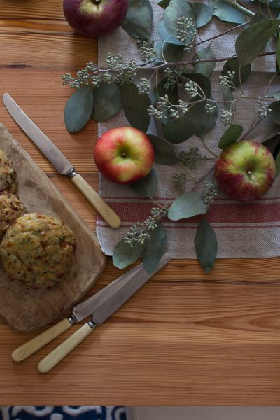 Brunch with scones and fresh apples