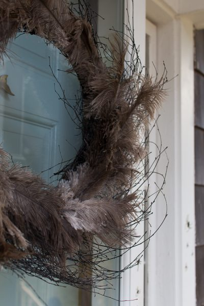 Halloween Twig Wreath with Ostrich Feathers