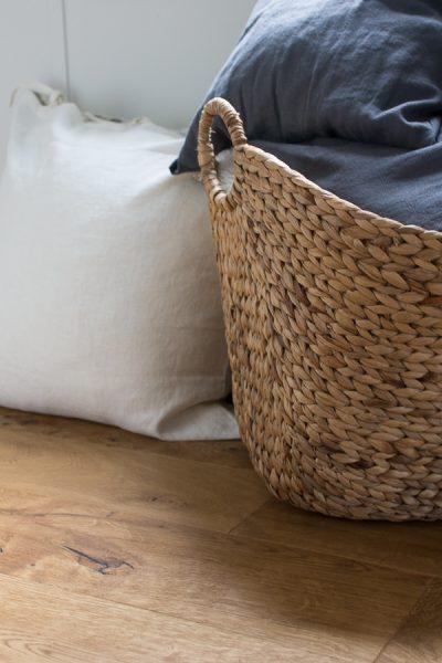Sea grass basket and linen pillows - pretty storage