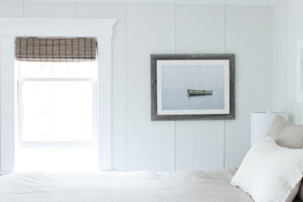 Paneled walls and beautiful boat print called Serenity