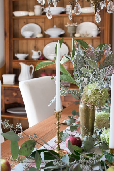 Inviting Fall Tablescape with apples, hydrangeas and greenery
