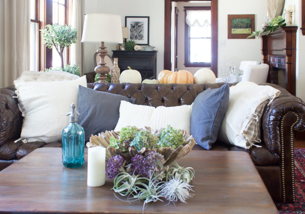 Pretty Fall Living Room with Linen Pillows and Dried Hydrangeas