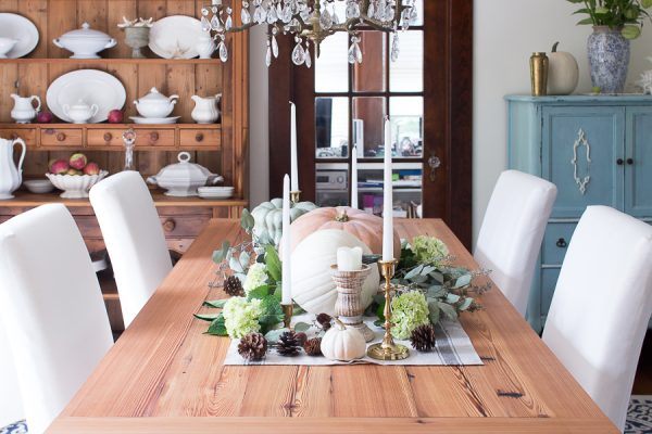 rustic fall tablescape with heirloom pumpkins