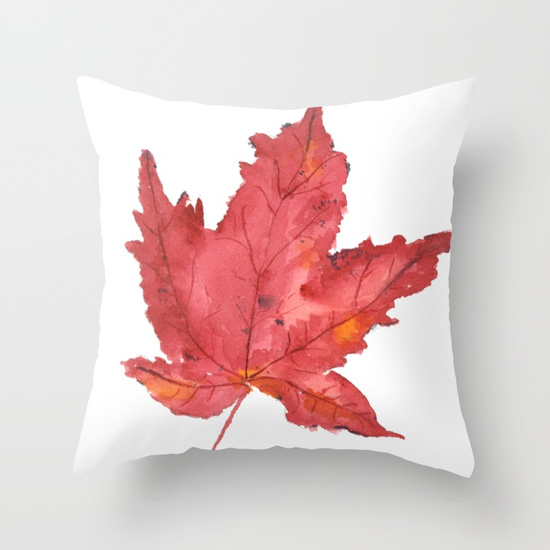 Decorate your couch with maple leafs for fall