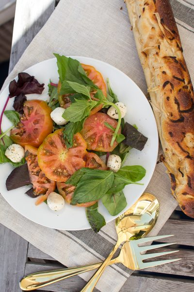 Heirloom tomato salad and rustic bread