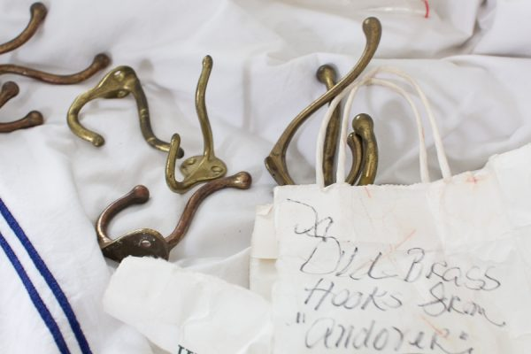 Vintage brass hooks