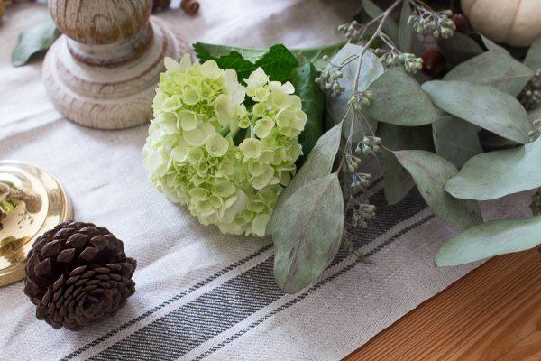 hydrangea and euculyptus