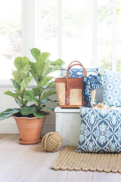 Breezy coastal sunroom, jute, white wash, fiddle leaf, white walls