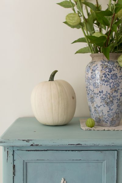 Simple white pumpkins and blue and white pottery