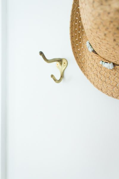 Brass hooks to hang straw hats