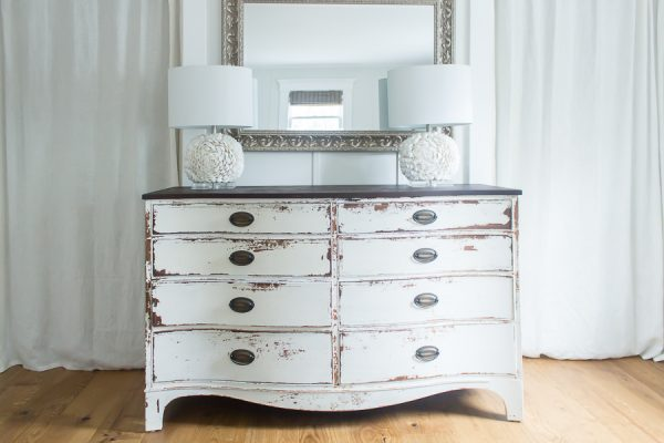 Stunning painted dresser and hardwood floors