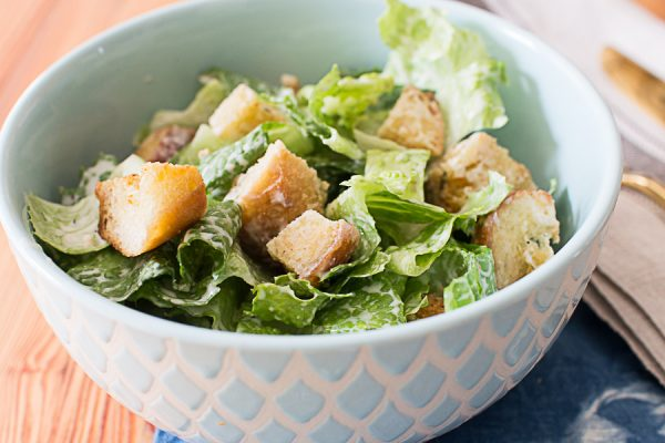 Delicious Caesar Salad with Homemade Croutons