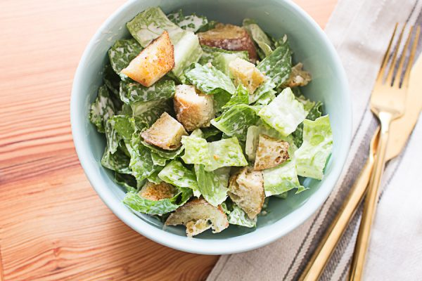 Delicious Caesar Salad with Fresh Baked Croutons