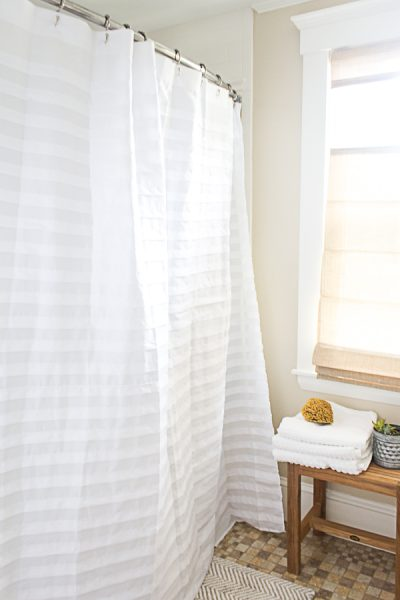 This tuxedo shower curtain is elegant and durable I Finding Silver Pennies