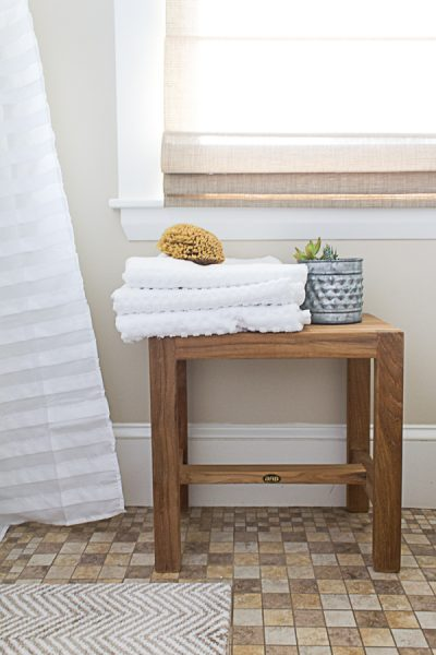 Teak Benches are lovely for extra seating in bathrooms I Finding Silver Pennies