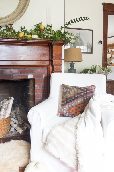 Reading Nook by the fireplace - perfect fall decor