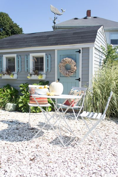 Kilim pillows, whale weathervane and some pumpkins - perfectly fall by the sea