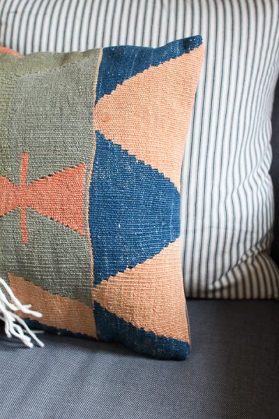 Kilim Pillows add beautiful texture to a space - Finding Silver Pennies