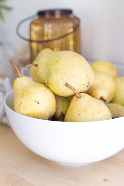 Pears are the perfect fruit to decorate with for fall