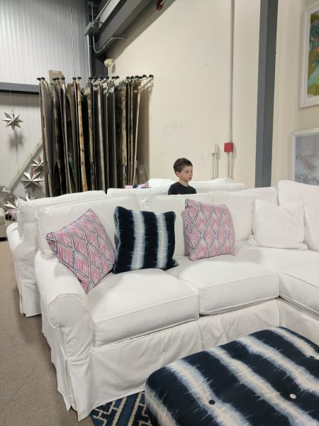 Our new sectional finding silver pennies - Boston interiors clearance center ...