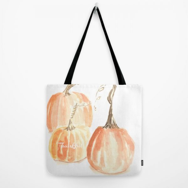 Twisted Stem Watercolor Pumpkin Totes