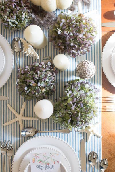Ticking stripes and dried hydrangeas - fun ideas for Thanksgiving I Finding Silver Pennies