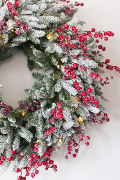 Gorgeous Red Berry Fraser Fir Lit Wreath I Finding Silver Pennies