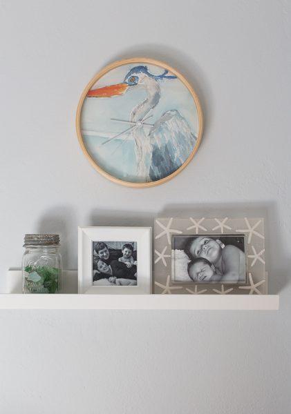 Blue Heron Wall Clock I Finding Silver Pennies