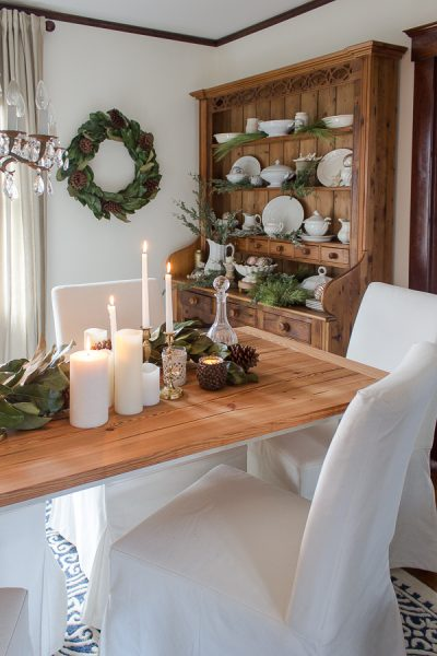 Simple Christmas in the Dining Room with Warm Woods and Slipcovers I Finding Silver Pennies