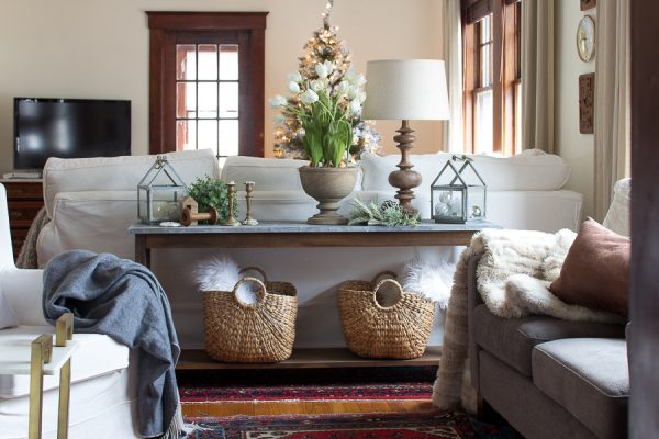 Cozy Christmas living room with slipcovered chairs and natural elements I Finding Silver Pennies