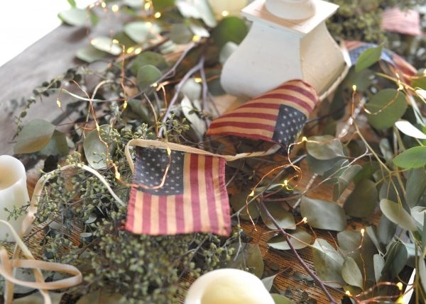 Simple Decor - fresh greenery, american flag bunting and fairy lights I Finding Silver Pennies