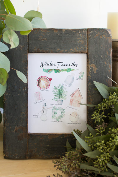 Winter Favorites Watercolor (Free Printable)