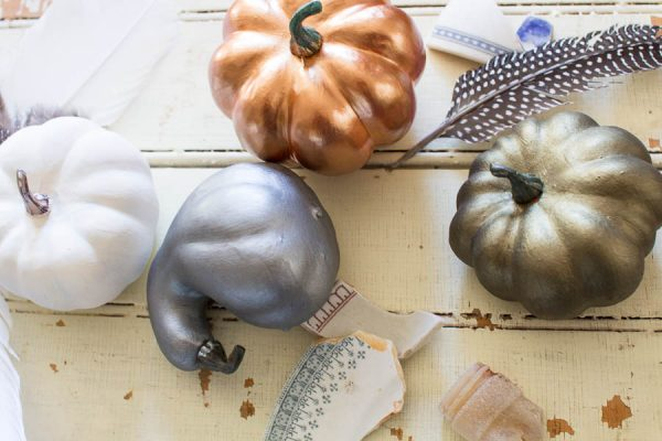 Painted Metallic Pumpkins I Finding Silver Pennies