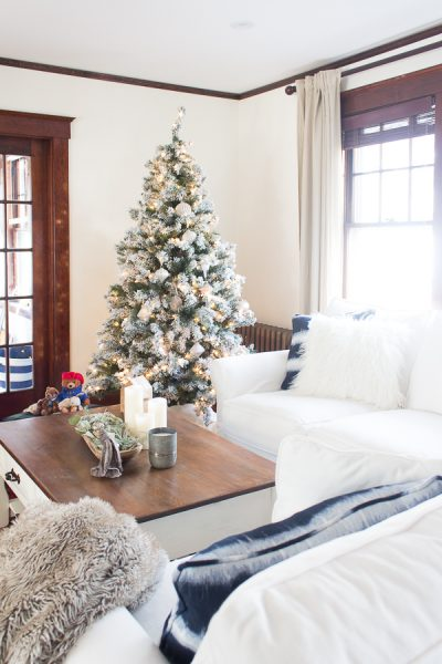 Cozy Christmas Living Room with White Slipcovered Sectional I Finding Silver Pennies