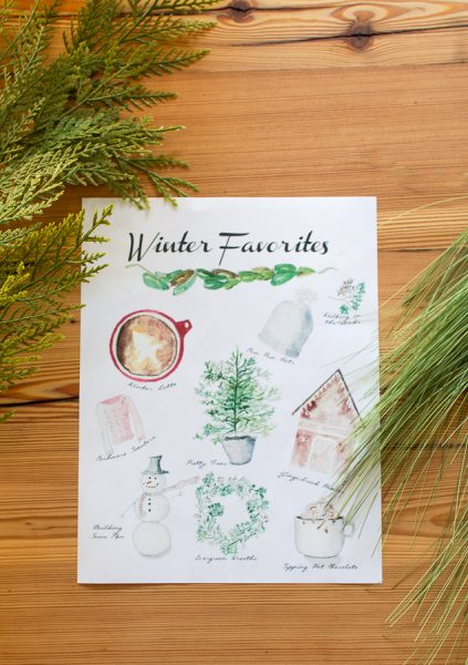Pretty Watercolor of Winter Favorites I Finding Silver Pennies