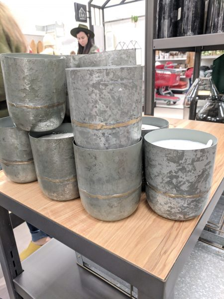 Pretty galvanized candles from Hearth & Hand collection