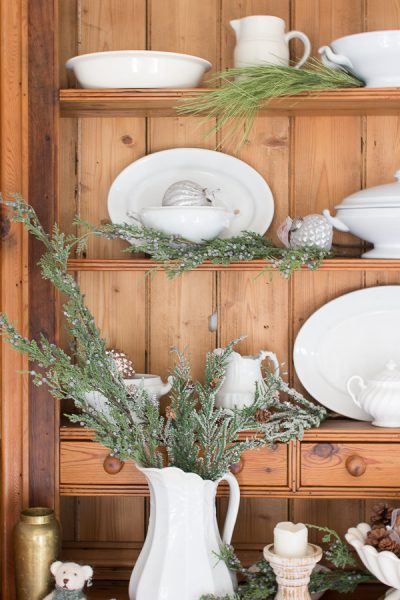 Christmas in the dining room - greenery and pine with french country baubles I Finding Silver Pennies