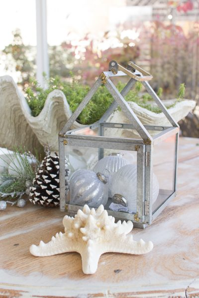 Galvanized lanterns look pretty with ornaments I Finding Silver Pennies