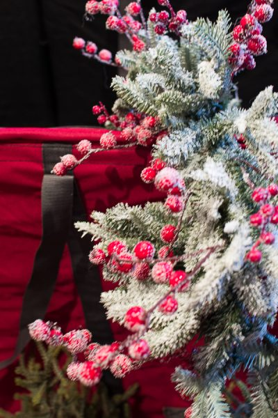 Pretty frosted garland and a tree bag - Finding Silver Pennies