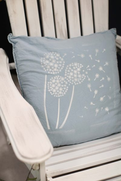Stencilled Pillow I Finding Silver Pennies