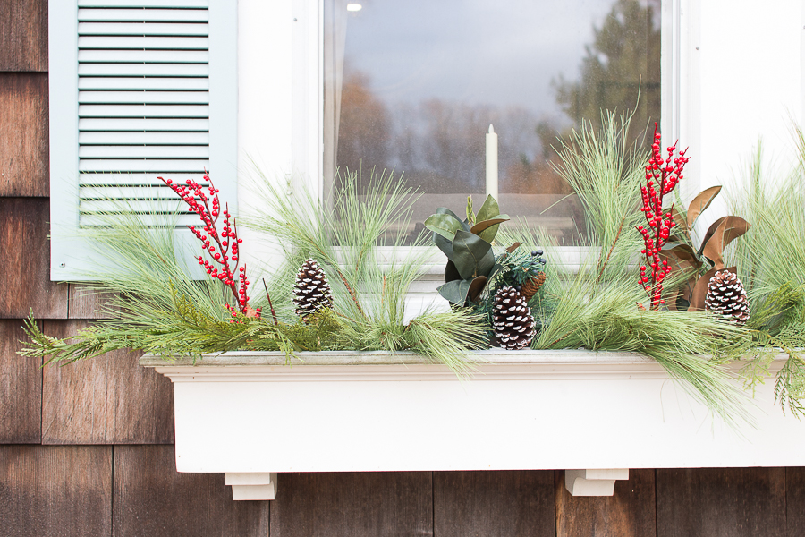 how to decorate your window boxes for christmas finding silver pennies - Window Box Christmas Decorations