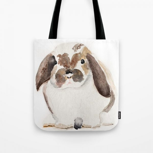 Watercolor Bunny Shopping Tote I Finding Silver Pennies