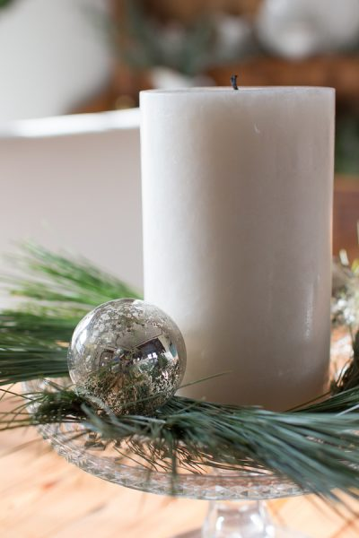 How to create a simple centerpiece with pillar candles and ornaments I Finding Silver Pennies
